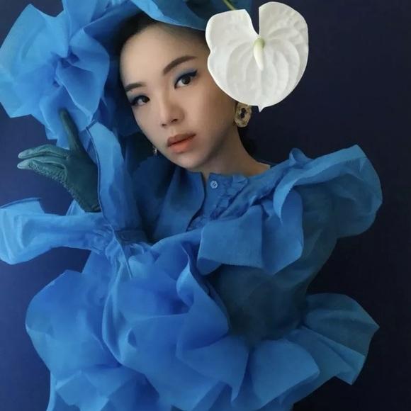 H&M STUDIO Blue Voluminous Flounced Blouse